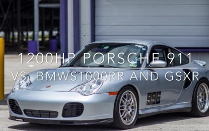 Porsche 911 996 Turbo protiv tuniranih BMW-a S1000RR-a i Suzukija GSX-R [Video]