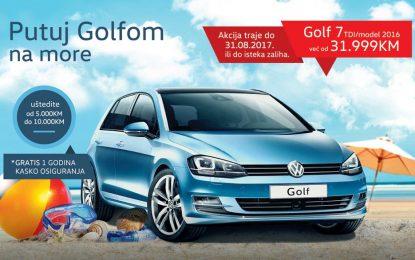 """U novoj prodajnoj akciji """"Putujmo Golfom na more"""" ušteda do 10.000 KM prilikom kupovine VW Golfa"""