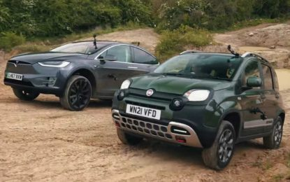 Off-Road dvoboj – Tesla Model X i Fiat Panda Cross [Video]